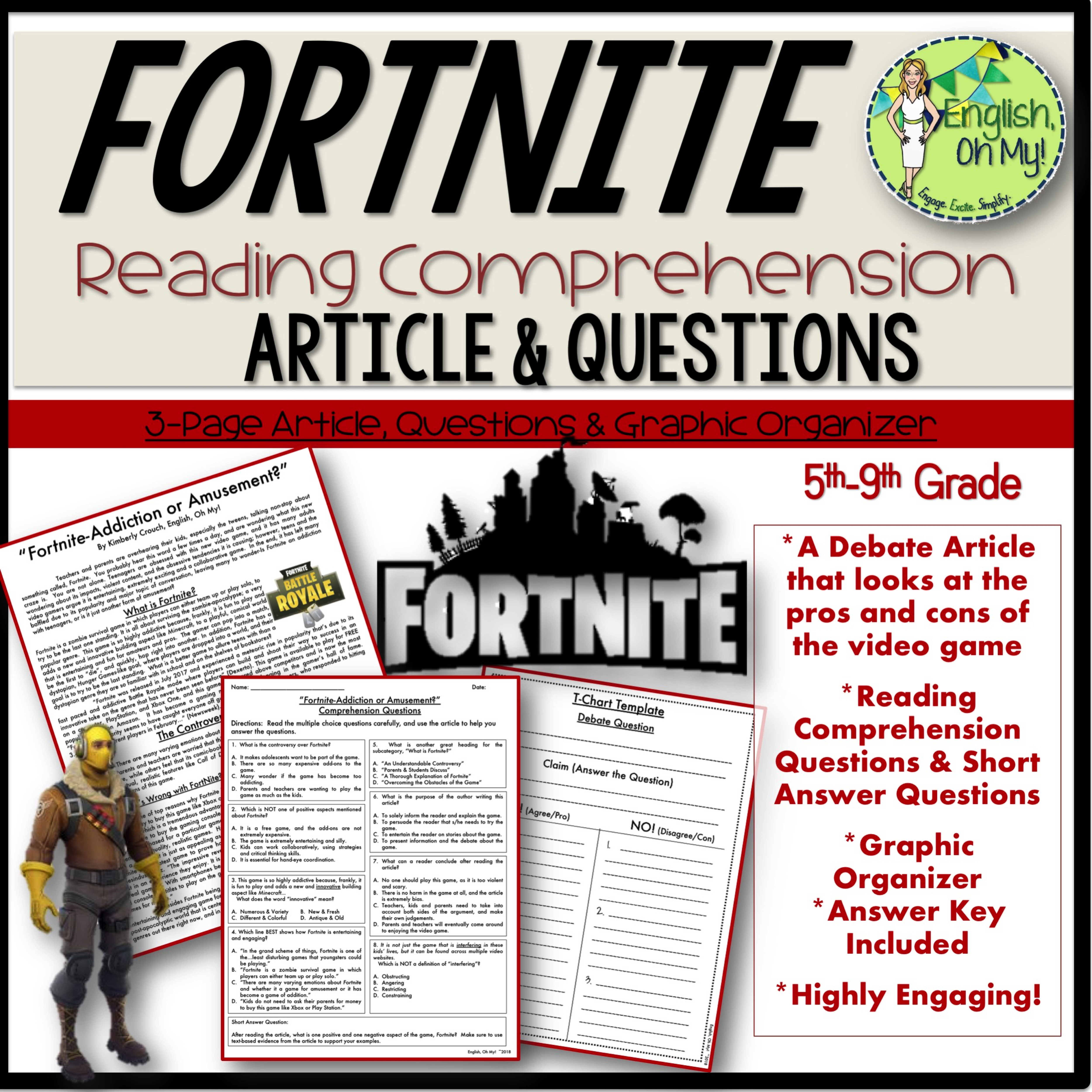 Fortnite Reading Comprehension & Writing Activity