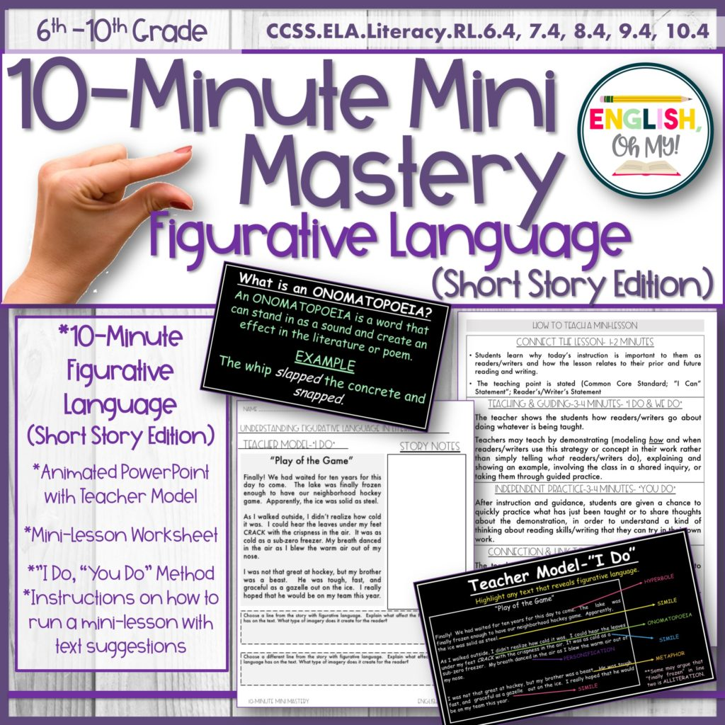 Figurative Language Mini-Lesson, 10-Minute Mastery, PowerPoint Slides,  Short Stories - English, Oh My!